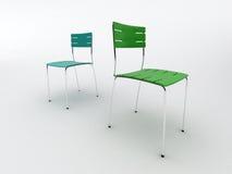 blåa stolar green två Arkivfoton