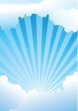 blåa strålar som skiner skyen Royaltyfri Foto