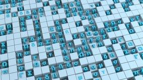 Blåa symboler av det grekiska alfabetet och kuber 3D att framföra illustrationen royaltyfri illustrationer