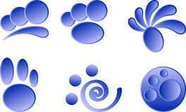 Blåa symboler på en vit bakgrund stock illustrationer