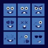 Blåa tecknad filmfyrkantEmoticons Shoppa etiketter och symboler royaltyfri illustrationer