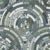 Blåa tegelplattor för cirkelstengolv Arkivfoton