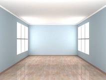 blåa tomma fönster för lokal två Arkivbilder