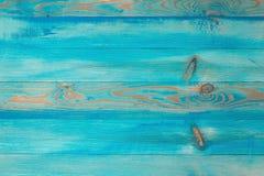 Blåa trästrandplankor, tom bakgrund för kopieringsutrymme, bästa sikt royaltyfri foto