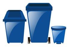 Blåa trashcans i tre olika format Fotografering för Bildbyråer