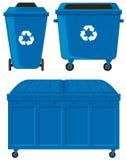 Blåa trashcans i tre olika format Arkivbild