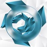 Blåa triangulära partiklar Med den suddiga beståndsdelen Royaltyfri Bild