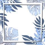 Blåa tropiska sidor med ramen Arkivbild