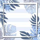 Blåa tropiska sidor med ramen görad randig bakgrund Arkivbild