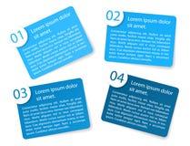Blåa vinkelformiga pappers- alternativetiketter för vektor Royaltyfri Foto