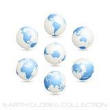 blåa vita samlingsjordjordklot Vektor Illustrationer