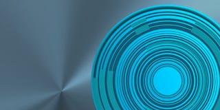 Blåaktiga koncentriska cirklar över blå bakground Royaltyfri Fotografi