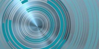 Blåaktiga koncentriska cirklar över blått strålar ljust Arkivbilder