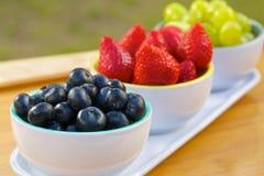 Blåbär, jordgubbar och druvor i cans Arkivfoton