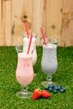 Blåbär-, jordgubbe- och bananmilkshake arkivfoton