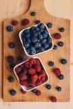 Blåbär och hallon, sund skogbärfrukt fotografering för bildbyråer