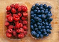 Blåbär och hallon, sund skogbärfrukt arkivfoton