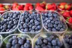Blåbär och jordgubbar arkivbild
