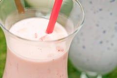 Blåbär- och jordgubbemilkshake arkivfoton