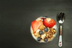 Blåbär och oatmeal Sund mat för ungar Yoghurt och frukt för idrottsman nen banta mat royaltyfri foto