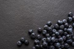 Blåbär på en skifferyttersida Fotografering för Bildbyråer
