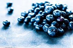 Blåbär på trätabellbakgrund Mogen och saftig ny vald blåbärcloseup BärCloseup royaltyfri fotografi