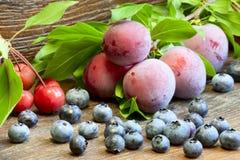 Blåbär, plommoner och lösa äpplen Arkivbild