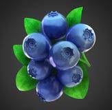 blåbär som fäster den mogna nya banan ihop Arkivfoton
