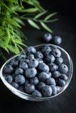 Blåbärantioxidant som är organisk i en bunke Arkivfoto