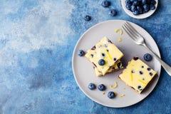 Blåbärkaka, ostkaka på en platta Bakgrund för blå sten kopiera avstånd Top beskådar royaltyfri foto