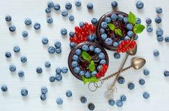 Blåbärsmoothies med sidor för ny mintkaramell, den röda vinbäret och tappningskedar på den gråa bakgrunden Sommardetoxsuperfoods Royaltyfri Fotografi