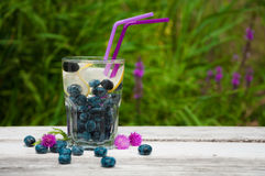 Blåbärvatten med citronen på en trätabell Fotografering för Bildbyråer