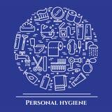 Blålinjenbaner för personlig hygien Uppsättning av beståndsdelar av duschen, tvål, badrummet, toaletten, tandborsten och andra lo stock illustrationer