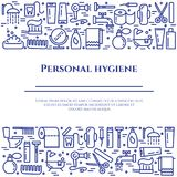Blålinjenbaner för personlig hygien Uppsättning av beståndsdelar av duschen, tvål, badrummet, toaletten, tandborsten och andra lo vektor illustrationer