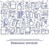 Blålinjenbaner för personlig hygien Uppsättning av beståndsdelar av duschen, tvål, badrummet, toaletten, tandborsten och annan lo Arkivfoto