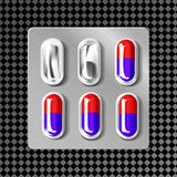 blåsa 3d med kapslar Den medicinska drogminnestavlan för sjukdom och smärtar behandling: smärtstillande medel vitamin, antibiotik Royaltyfri Foto