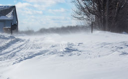 Blåsa driva snow över en landsväg Arkivbilder