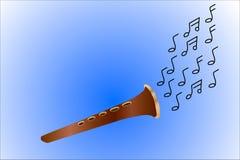 Blåsa flöjt gjord ‹för †av trä Spela musik- och flugaanmärkningar isolerat Royaltyfri Foto