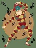 blåsa flöjt mannen maskerade musikalen Arkivbild