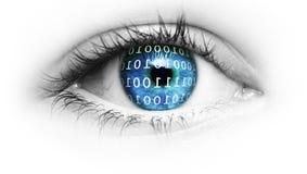 Blått öga med binär kod royaltyfria foton