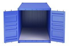 Blått öppnade den tomma lastbehållaren, främre sikt framförande 3d Royaltyfri Foto