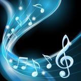 Blått abstrakt begrepp noterar musikbakgrund. Royaltyfria Bilder