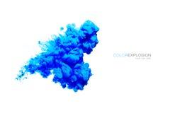 Blått akrylfärgpulver i vatten illustrationen för fractals för explosionen för abstrakt bakgrundsfärg texturerade den digitala Arkivfoto