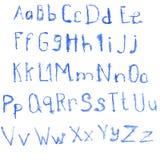Blått alfabet för vattenfärg Royaltyfria Bilder