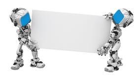 blått bärande robotskärmtecken stock illustrationer