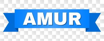 Blått band med AMUR text royaltyfri illustrationer