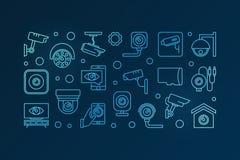 Blått baner för CCTV- och bevakningkameravektor stock illustrationer