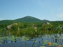 Blått berg från sjön Durant Arkivfoto