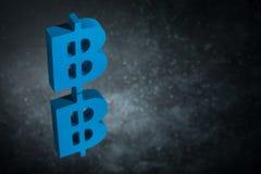 Blått Bitcoin valutasymbol med spegelreflexion på mörka Dusty Background royaltyfri illustrationer