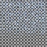 Blått blänker fallande partiklar på genomskinlig bakgrund Snowflingor texturerar royaltyfri illustrationer